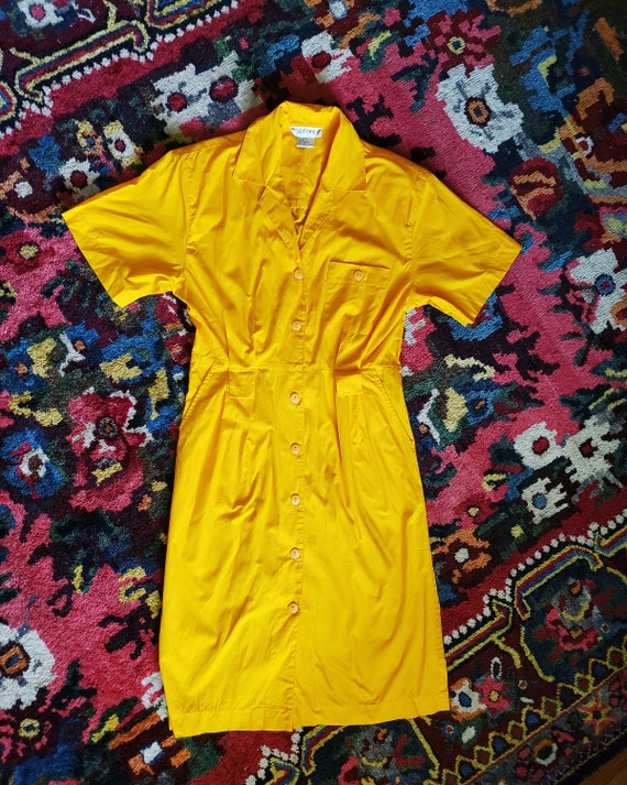 Vintage Bright Yellow 1980s OverSized Dramatic Dr… - image 2