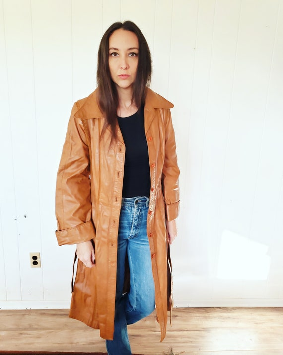 Gorgeous 1970s Orange Brown Striped Leather Hippy… - image 3