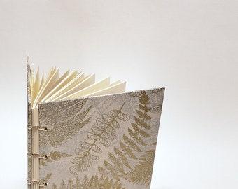 gold and silver fern journal - lokta paper journal - artist sketchbook - botanical notebook - lay flat watercolor journal - nature notebook