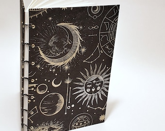 celestial bodies journal in black and gold - astrology notebook - lunar journal - night sky - witch notebook - witchcraft book - spellbook