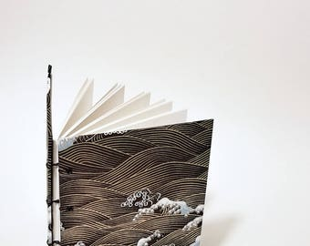 Japanese gold waves coptic bound writing journal - Japanese notebook - Japanese drawing sketchbook - hand bound journal - small blank book