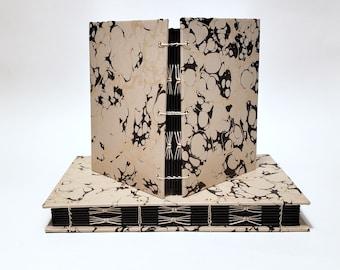 metallic gold and black vein marbled journal - tan notebook - black page journal - coptic bound journal - handmade sketchbook - lay flat