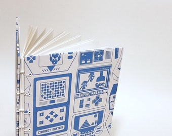 vintage video game notebook - gamer journal - old school video game sketchbook - retro journal - arcade notebook - mens sketchbook journal