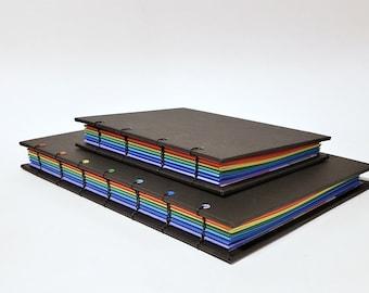 rainbow coptic bound writing journal - rainbow notebook - rainbow page sketchbook - LGBTQIA+ journal - queer notebook - gay pride journal