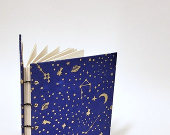 star gazing journal in blue and gold - dream journal - dream diary - dream notebook - star journal notebook - cute drawing sketchbook