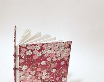 Japanese pink flowers journal - Japanese notebook - cute drawing sketchbook - hand bound journal - Japanese bullet journal - pink sketchbook