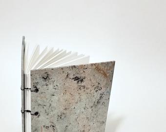 opal marbled journal - gray marble journal - gray marble notebook - handmade sketchbook - bookbinding - coptic bound notebook - A5 journal