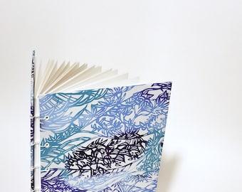 Japanese billowing blues journal - Japanese notebook - blue journal - washi sketchbook - lay flat notebook - writing journal notebook