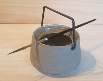Gray Porcelain Brush Washer - Water Well - Watercolor Pot - Ceramic Painting