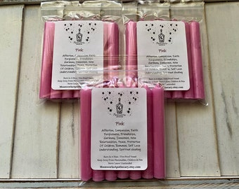 Pink Mini Wax Chime Candles, Pack Of 7, Taper Candles, Spell Candles, Intention, Candle Magick, Ritual, Prayer, Witch, Witchcraft, UNSCENTED