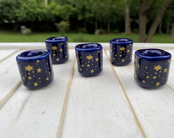 Chime Candle HOLDER, Blue with GOLD Stars, Mini Candle Holder, Mini Taper, Chime Candles, Beeswax Candles