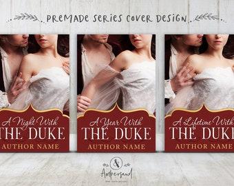 "3 Book Series Premade Digital eBook Book Cover Design Trilogy ""DUKE HAYWORTH"" Adult Historical Romance Regency Victorian Era History"