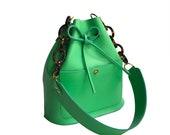 Leather bucket bag green, vivid green La Lisette shoulder bag woman's
