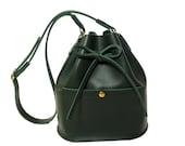La Lisette Leather bucket bag Forest green shoulder bag womens bag green leather bag