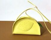 Lemon bag yellow leather bag, handmade kids purse, fruit bag