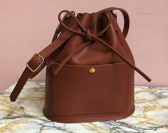 9723aa8098bc Cognac brown Leather bucket bag