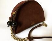 Handmade leather bag, half moon womens bag burgundy, la lisette crossbody bag