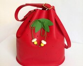 Red Leather bucket bag strawberry, la lisette fruit bag