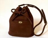 Leather bucket bag Burgundy La Lisette shoulder bag, womens bag, leather tote