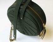 Leather bag monstera, green circle bag, la lisette womens Bag dark green Leather Purse monstera leaf