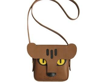 La Lisette Leather bag, Panther, brown leather bag, animal bag, leopard