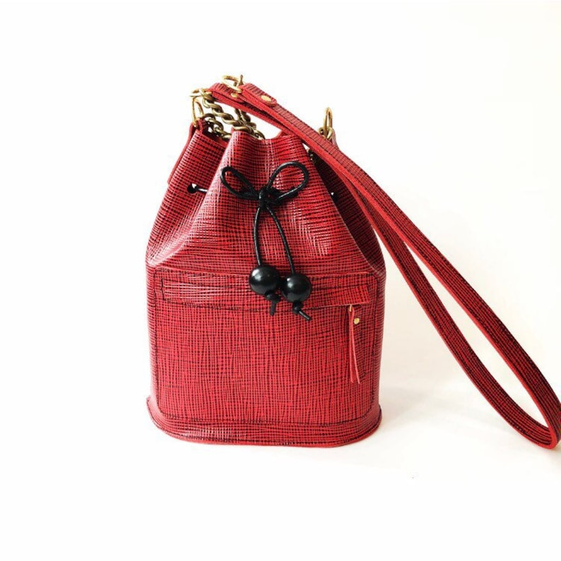 Mini Bucket bag leather black and red leather la lisette
