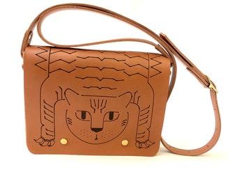Leather bag tiger rug BIG, engraved la lisette Tibetan tiger rug bag, crossbody leather purse