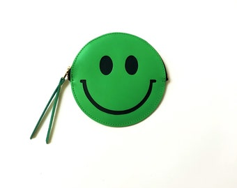 Smiley wallet, green happy face leather coin purse