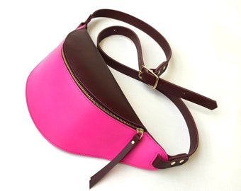 Leather Fanny pack Burgundy and Pink La Lisette