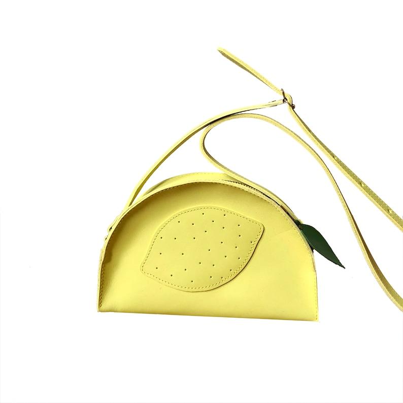 Leather kids purse Lemon kids wallet fruit bag Handmade image 0