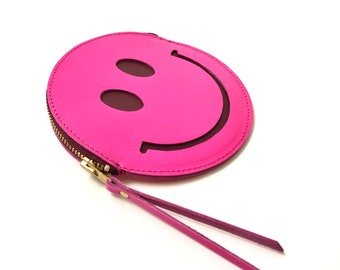 Smiley purse pink, happy face leather coin purse