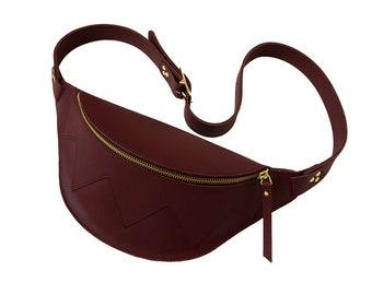 Fanny pack leather, hip bag, bumbag, waistbag, beltbag, burgundy, la lisette
