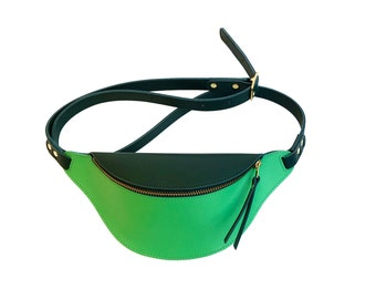 Two tone green leather mini fannypack, belt bag, iphone purse, la lisette hip bag, bumbag, waistbag
