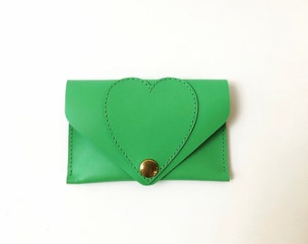 Green leather card holder with heart, La Lisette card case