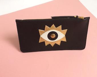 Black leather case, Eye, la lisette, cosmetic case, make up case, pencil case, wallet, leather wallet, eyes