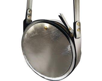 Silver Metallic leather bag, la lisette circle bag, crossbody
