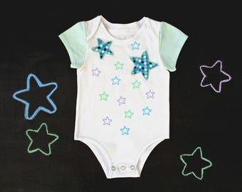 Newborn onesie, cotton bodysuit, gender neutral boy girl, front opening or shoulder flaps, stars polkadot space baby shower, mom to be