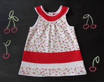 Girl yoke dress, flared dress, a-line cotton girl dress, red and white cherry print, spring summer holiday dress, cherry birthday girl gift