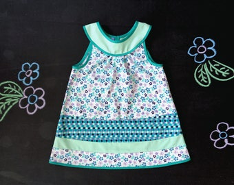Girl yoke dress, flared dress, a-line cotton girl dress, polka dot flower print, spring summer holiday dress, first 1st birthday girl gift