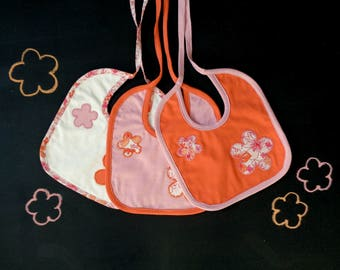 Set of three bibs, flower applique, twins coordinated bibs, orange pink white, gift for mom and baby, flower baby shower, my first Christmas