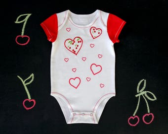 Cotton baby onesie, front opening or shoulder flaps, heart cherry fruit onesie, cotton bodysuit, love red baby shower gift, mom to be gift