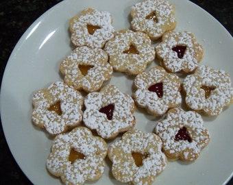 3 doz. Linzer Tart Cookies,butter cookies,Hungarian cookies,filled cookies,Almond cookies