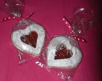 8 Valentine's Day giant Linzer tart heart Cookies,filled,love,butter cookies,party,tea cookies