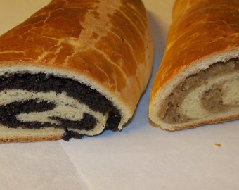 3 Traditional Hungarian Nut and Poppy Roll,Beigli,Christmas sweet bread roll, Dessert