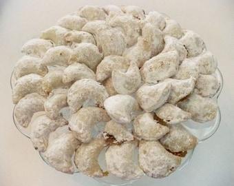 3 doz. Crescent Kifli Cookies,Hungarian cookies,filled cookies,walnut/apricot/lekvar cookies,Christmas dessert