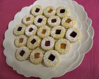 3 doz.  Austrian Linzer Tarts,butter cookies,Hungarian cookies,filled cookies,Christmas dessert