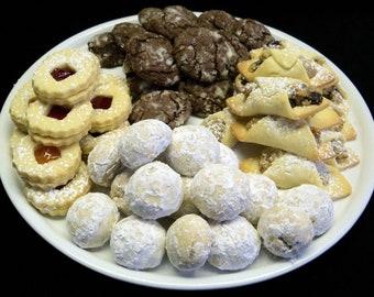 Tray of cookies...4 different kind of cookies...80 cookies...Linzer,Kifli,Teaball.Chocolate Crincles...Hungarian,Austrian,Europian