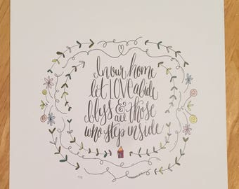 Home Quote 8x10 Handlettered Illustration Print
