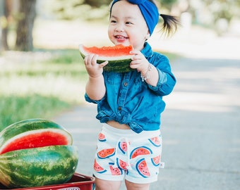 Watermelon Organic Baby Shorts, Watermelon Kids Shorts, Unisex