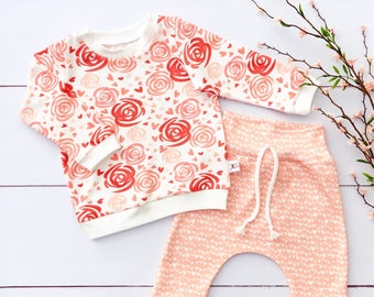 Valentine's Day Baby Girl Outfit / Floral and Hearts Valentine Baby Shirt / Girl Clothes / Toddler Shirt / Baby Pants